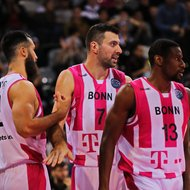 Martin Breunig, Bojan Subotic, Yorman Polas Bartolo / Telekom Baskets Bonn vs. PAOK Thessaloniki , Basketball Champions League Foto: J